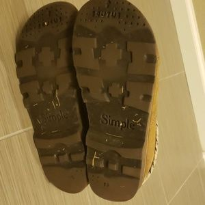 Simple Shoes - Simple patchwork leather slides